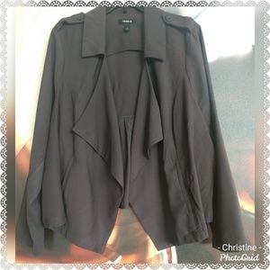 *Torrid Gray Drape Front Twill Jacket